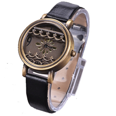 JinGle Women Hot New Synthetic Leather Dress Watches Fenestration Retro Style Lady Wrist Watches (Black)