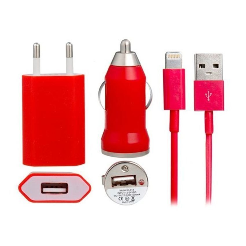 JOR 1 meter Mini USB Car Charger for iPhone 5 (Red) (Intl)