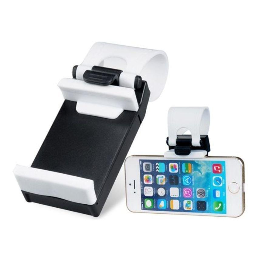 JOR Adjustable Car Steering Wheel Phone Socket Holder (Black/White) (Intl)