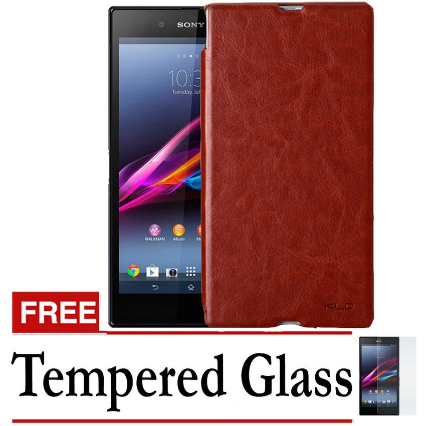 Kalaideng Ultra Enland Leather Case for Sony Xperia Z - Cokelat + Gratis Tempered Glass