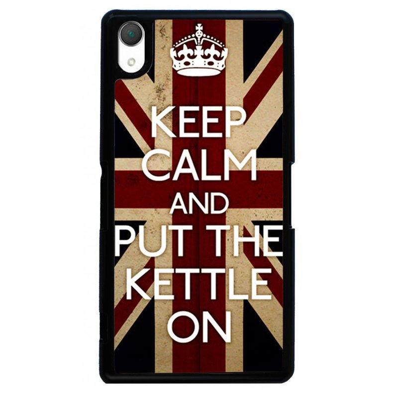 Keep Calm Union Flag Painting Phone Case for SONY Xperia Z2 (Black)