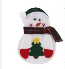 Kitchen Cutlery Suit Knifes Folks Bag Snowman Shaped Christmas Party Decoration Supplies (Intl)