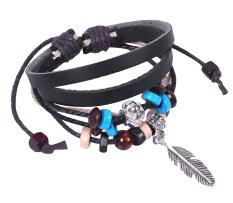 Kobwa Bohemian Feather PU Leather Bracelet Adjustable Wirstaband, Black