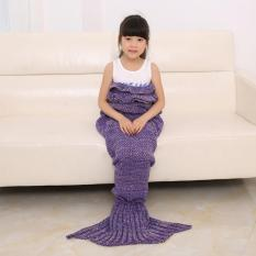 LALANG Child Kids Knitted Falbala Mermaid Tail Blanket Crochet Sofa Bed Sleeping Bag Gift (Purple)