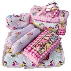 Larisa Store - Tas Bantal Guling Gendongan Alas Tidur Perlak Bayi Set 4 in 1 Chekiddo - Pink