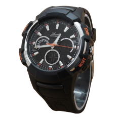 Lasebo Dual TIme - Jam Tangan Pria - Rubber Strap - LSB 922 Black Lis Orange