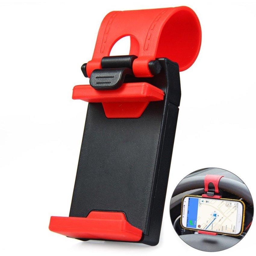 Lazypod Car Steer Wheel Phone Socket Holder - Merah