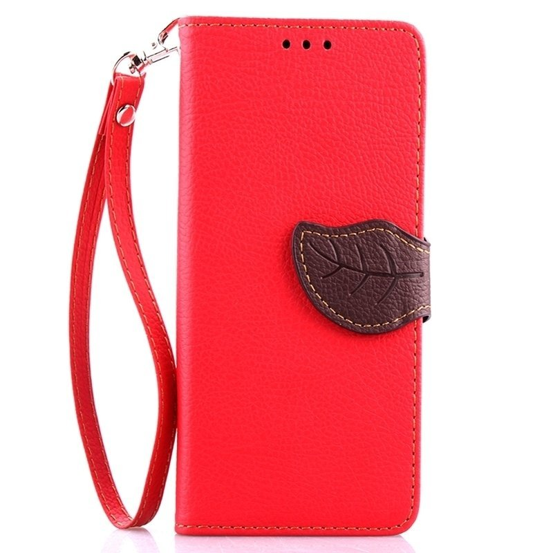 Leaf Clasp PU Leather Case with Stand Function 2 Card Holder Wallet Case Cover for iPhone 6/6S 6s Red (Intl)