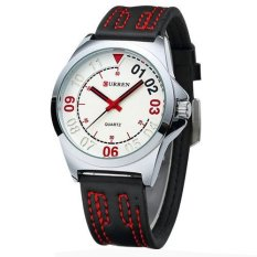 Leahter Men Luxury Analog Display Fashion Business Quartz Men Watch-Silver White