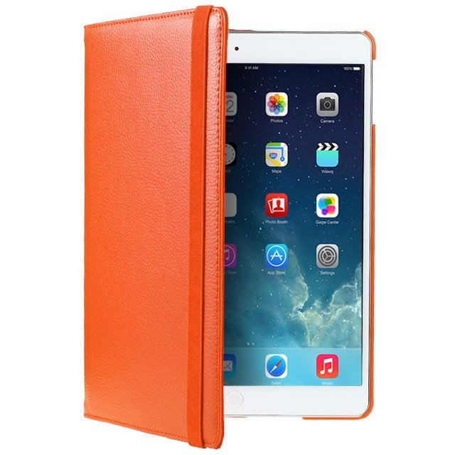 Leather 360 Degree Rotating Smart Stand Case Cover with Screen Protector and Stylus for iPad 4 3 2 Orange