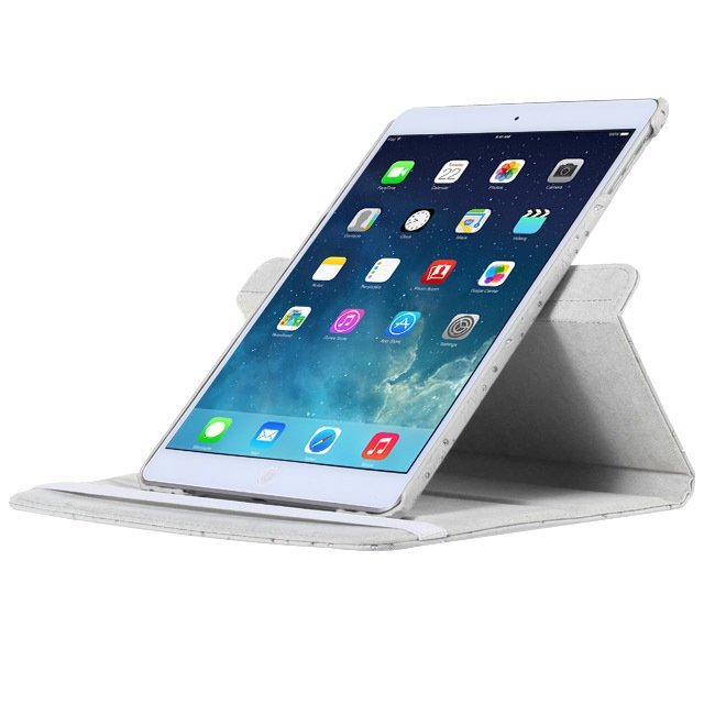 Leather 360 Degree Rotating Smart Stand Case Cover with Screen Protector and Stylus for iPad 4 3 2 White Crystal