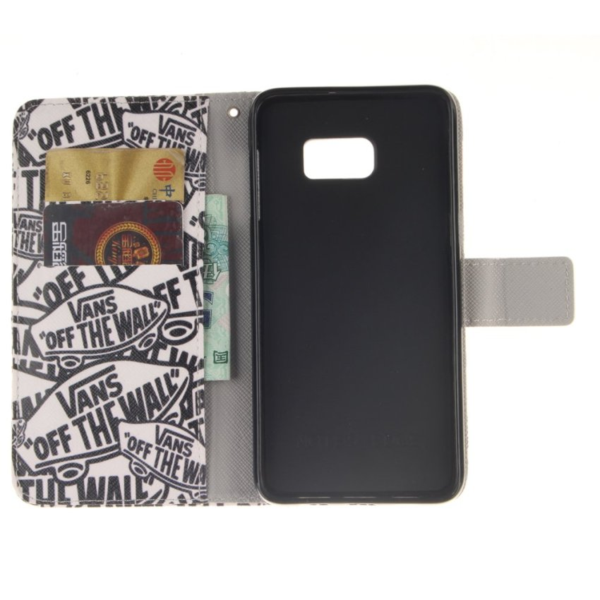 Leather Case Built-In Card Slot with Character Double Painting for Samsung Galaxy Note Edge (Black and White) (Intl)