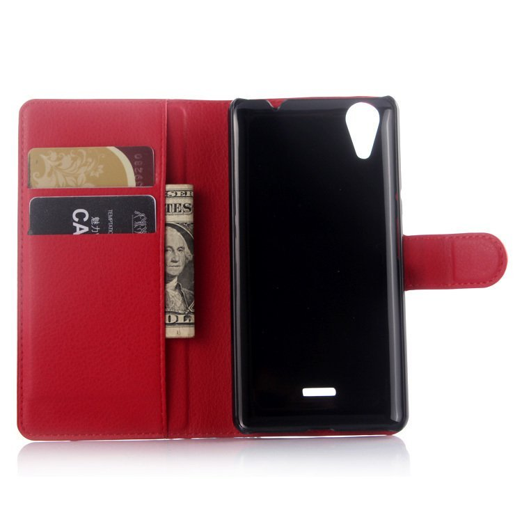 Leather Cover with Card Bag Holder for Wiko Rainbow Lite (Red) (Intl)