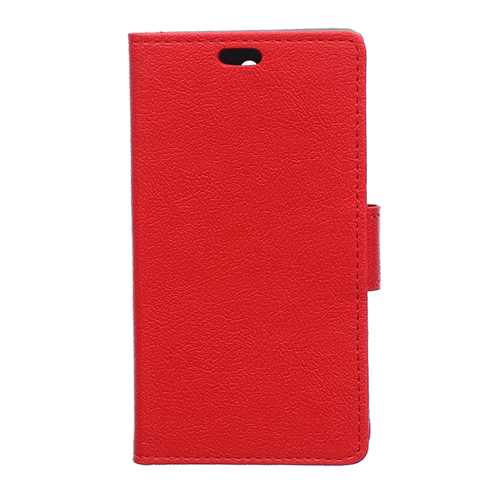 Leather Flip Case With Card Slot for Alcatel PIXI 3 OT5015 (Red) (Intl)