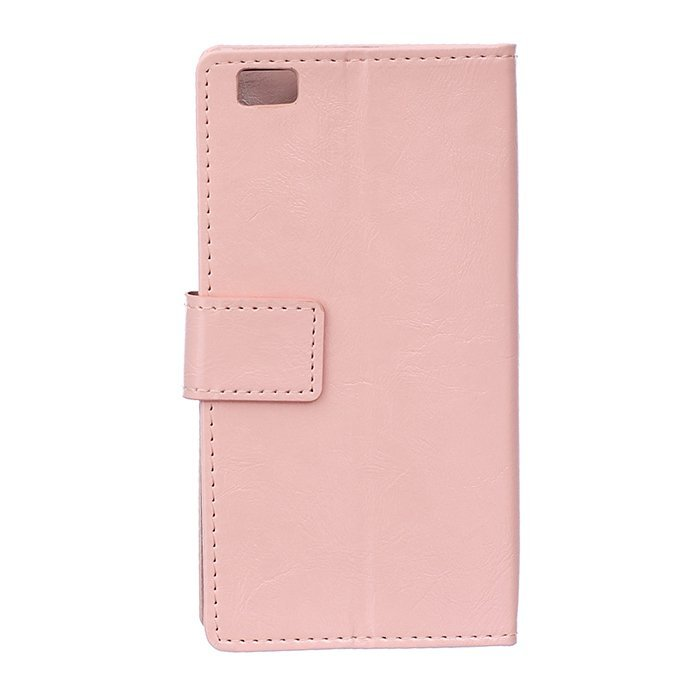 Leather Flip Case with Card Slot for Huawei Ascend P8 (Pink) (Intl)