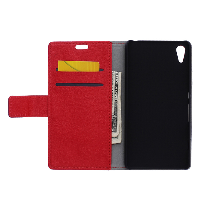 Leather Flip Case With Card Slot for Sony Xperia Z4V (Red) (Intl)