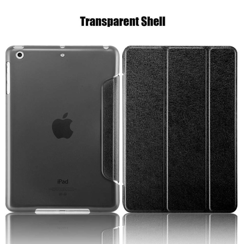 Leather Flip ShockProof DustProof Tablet Protective Slim Transparent Back Case for Apple iPad Air 2/iPad 6 Black(INTL)