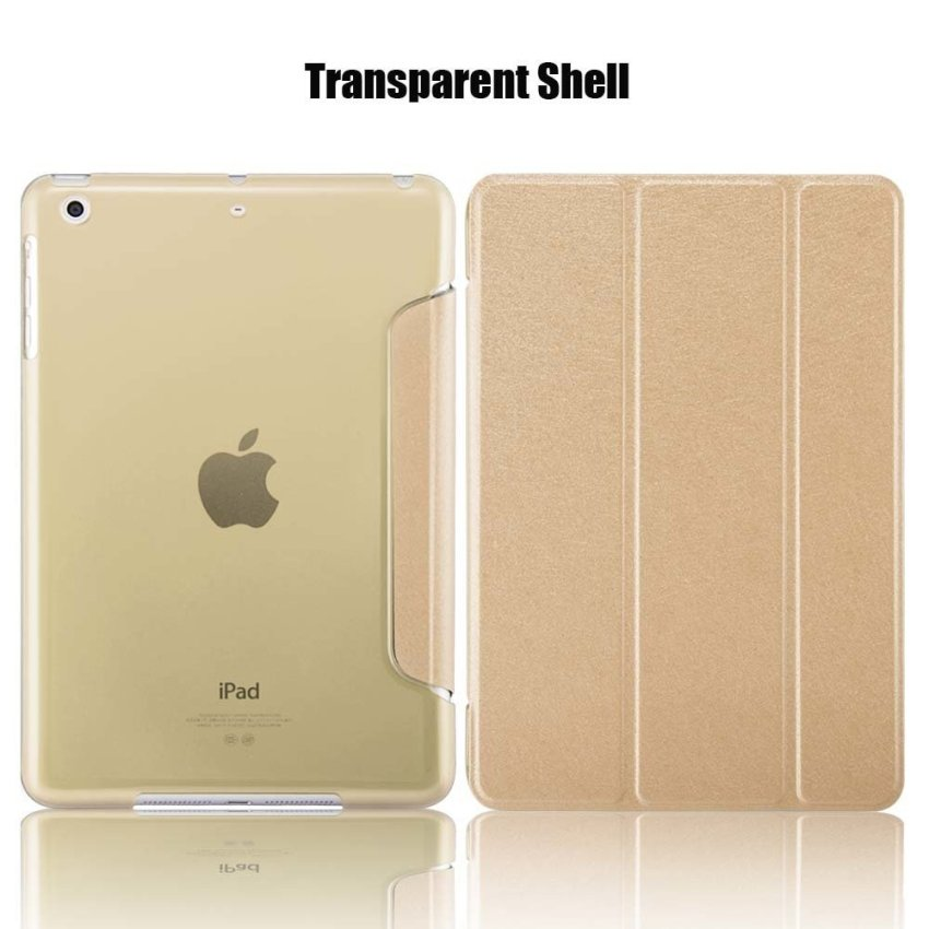 Leather Flip ShockProof DustProof Tablet Protective Slim Transparent Back Case for Apple iPad Air 2/iPad 6 Gold(INTL)