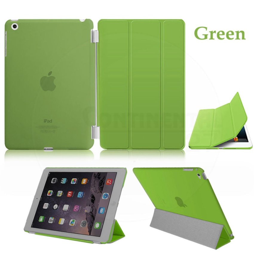 Leather Flip ShockProof DustProof Tablet Protective Slim Transparent Back Case for Apple iPad Air 2/iPad 6 Green(INTL)