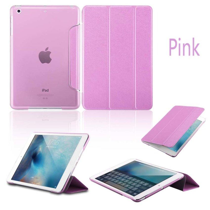 Leather Flip ShockProof DustProof Tablet Protective Slim Transparent Back Case for Apple iPad Air 2/iPad 6 Pink(INTL)