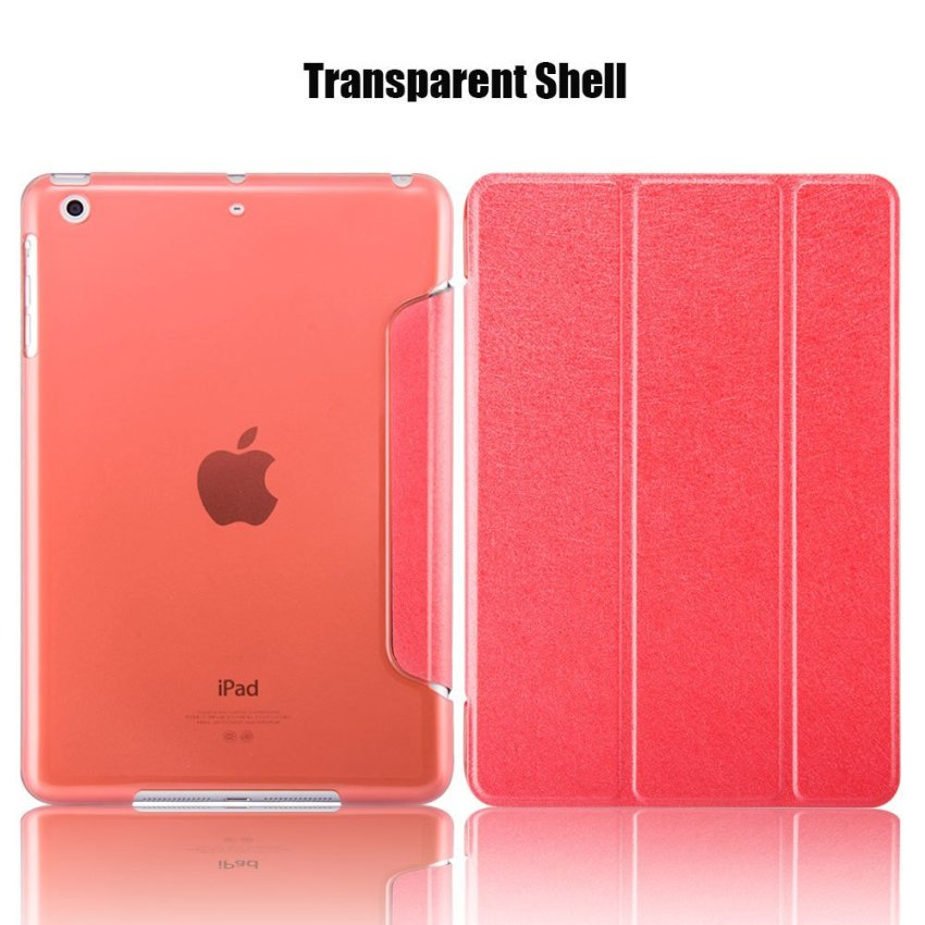 Leather Flip ShockProof DustProof Tablet Protective Slim Transparent Back Case for Apple iPad Air 2/iPad 6 Red(INTL)