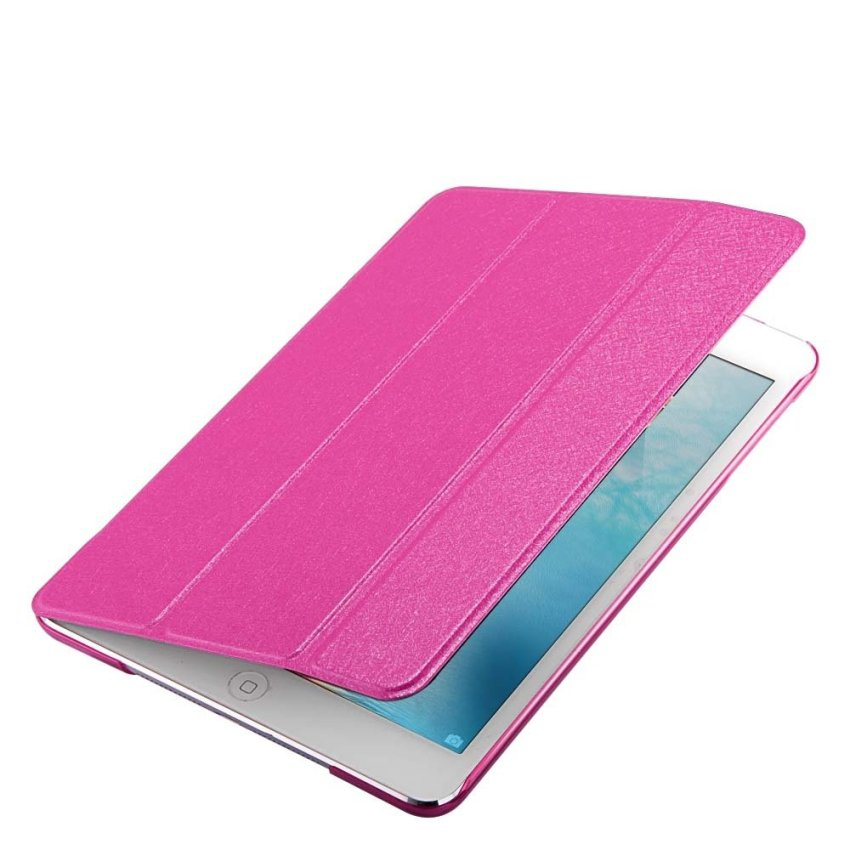 Leather Flip ShockProof DustProof Tablet Protective Slim Transparent Back Case for Apple iPad Air 2/iPad 6 Rhodo(INTL)