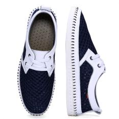Leather Mesh Breathable Shoes Mesh Shoes Soft Soled Shoes (Blue) - Intl