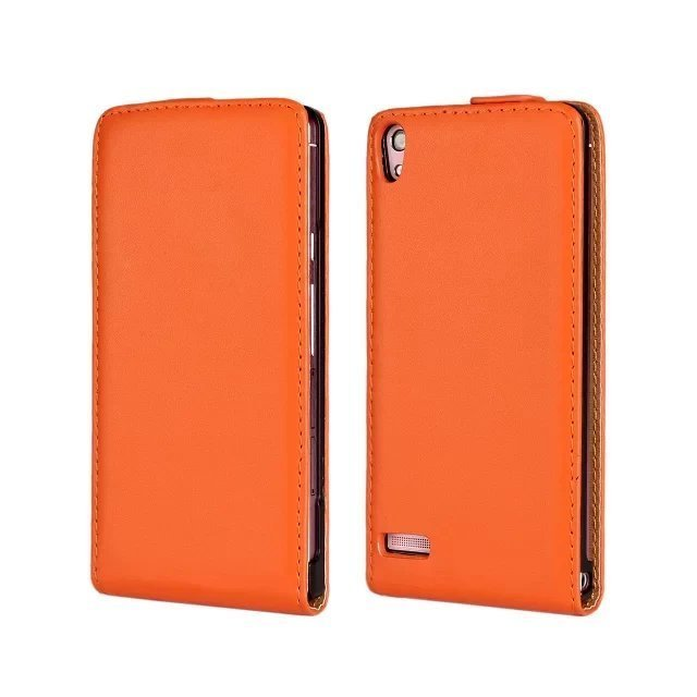 Leather Up-Down Flip Open Holster Cover for Huawei P6 (Orange)