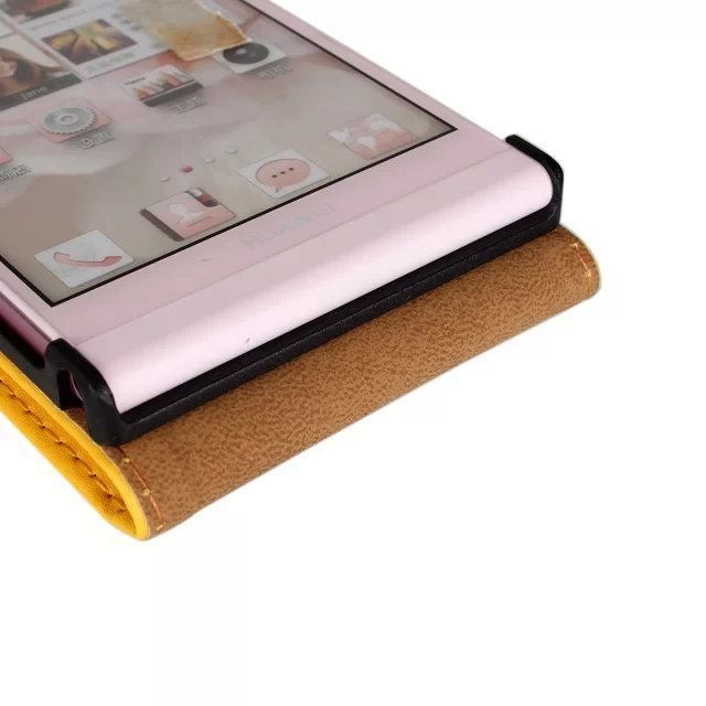 Leather Up-Down Flip Open Holster Cover for Huawei P6 (Yellow)