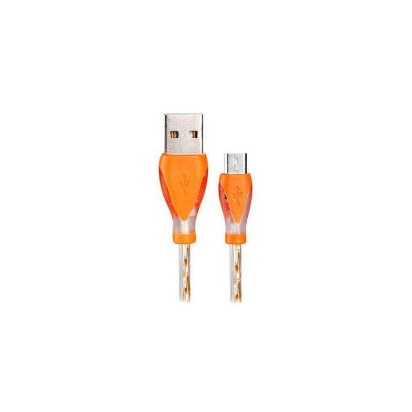 LED Colorful Flashing Micro USB to USB2.0 Charging Data Cable Orange