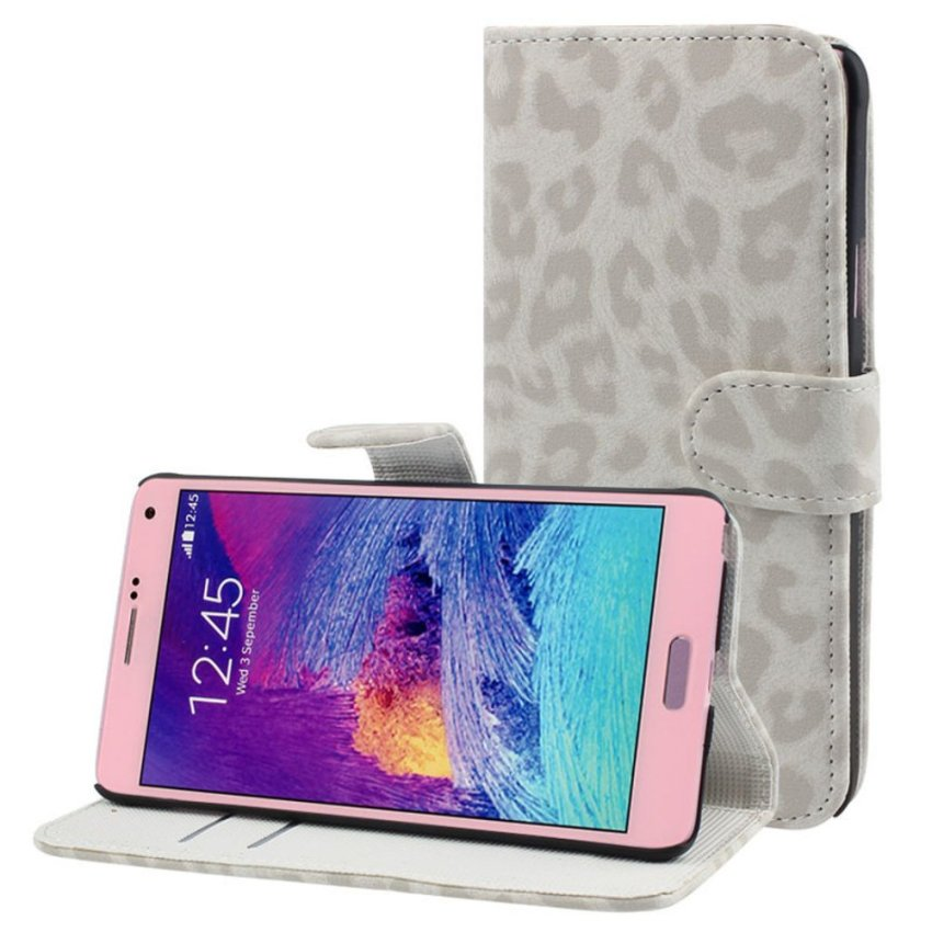 Leopard Leather Flip Wallet Case Cover For Samsung Galaxy Note 4 White