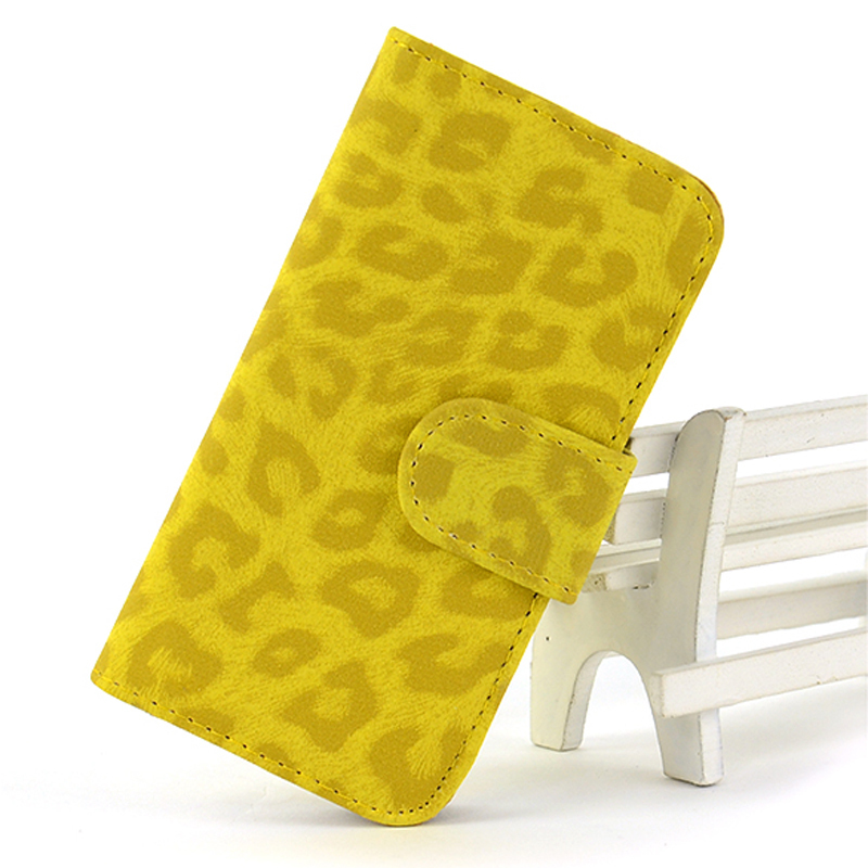 Leopard Leather Wallet ID Card Folio Flip Hard Cover Good for iPhone 5 5S (Yellow) (Intl)
