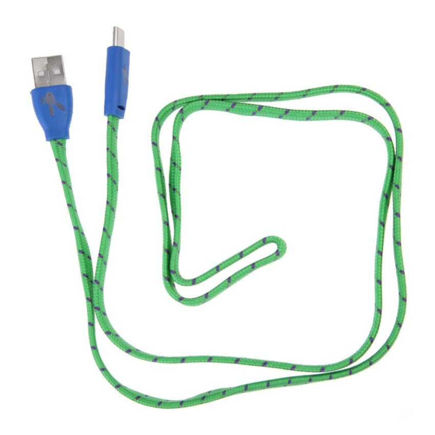 Light Flat Braided MICRO USB Data Sync Charge Cable for Samsung Green