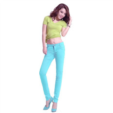 Light Sky Blue 2016 New Arrived Womens Jeggings Size 26-31 Ladies Fit Skinny Coloured Stretchy Trousers Jeans Casual Summer Autumn Pants Colours - Intl