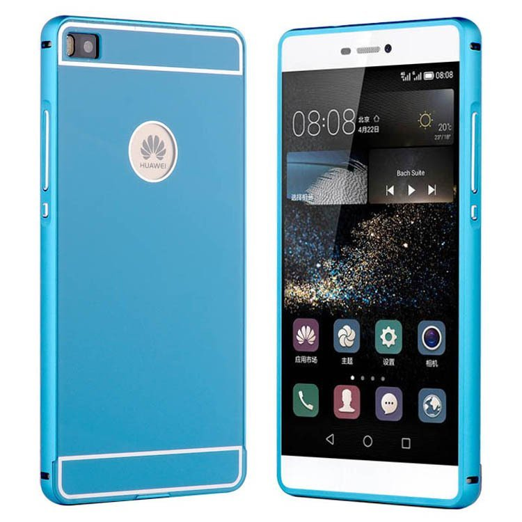 Lite Phone Luxury Metal Frame Acrylic Back Case for Huawei P8 Lite (Blue) (Intl)