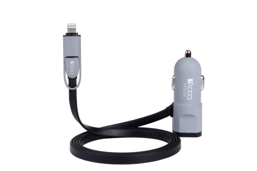 Loca Car Charger 2 output Free Charge Cable 2 in 1 Hitam-Abu