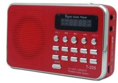 Loud Speaker Digital Audio Player Support SD / Tf Card with Fm Radio Speaker (Red) (Intl)