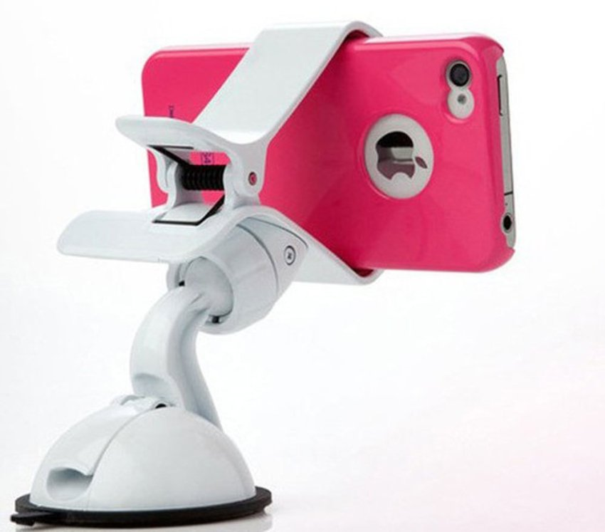 louiwill 360 Degree Swivel Universal Car Mount Holder for iPhone Cell Phone MP4 GPS Navigator,White (Intl)