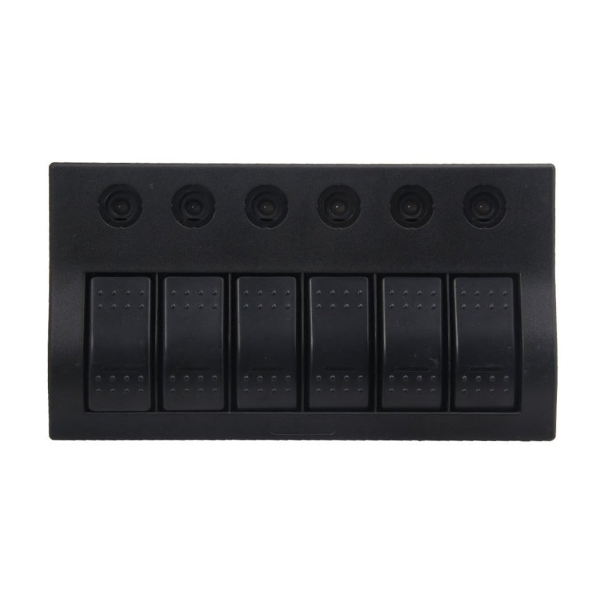 louiwill Marine Boat Caravan 6 Gang LED Rocker Circuit Breaker Switch Panel (Black) (Intl)