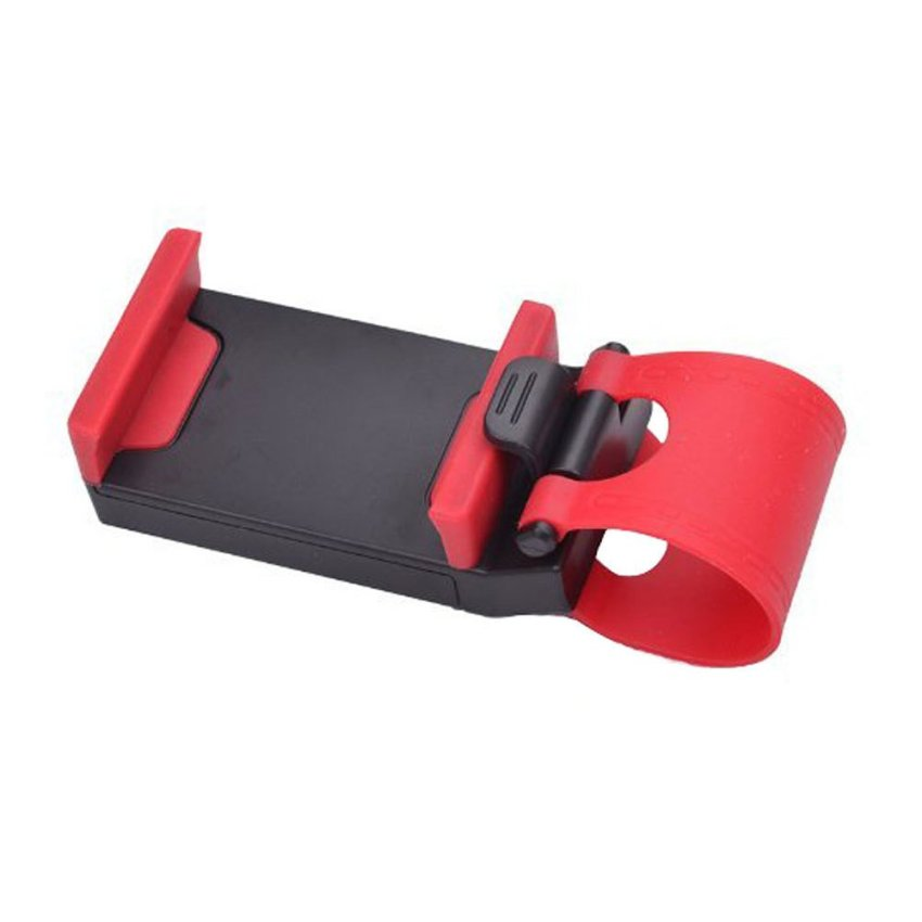 louiwill Multi-functional Hands Free Mobile Phone Holder Buckle Socket on Car Steering Wheel, Black and Red (Intl)
