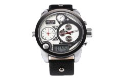 Louiwill WEIDE Mens PU Leather Analog Digital Wrist Watches (Black&White) (Intl)