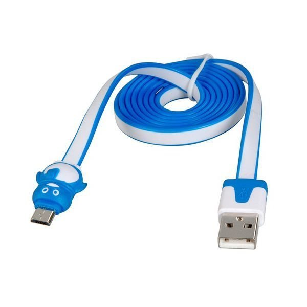 Lovely QQ Penguin Design Micro USB Charging Data Cable Blue