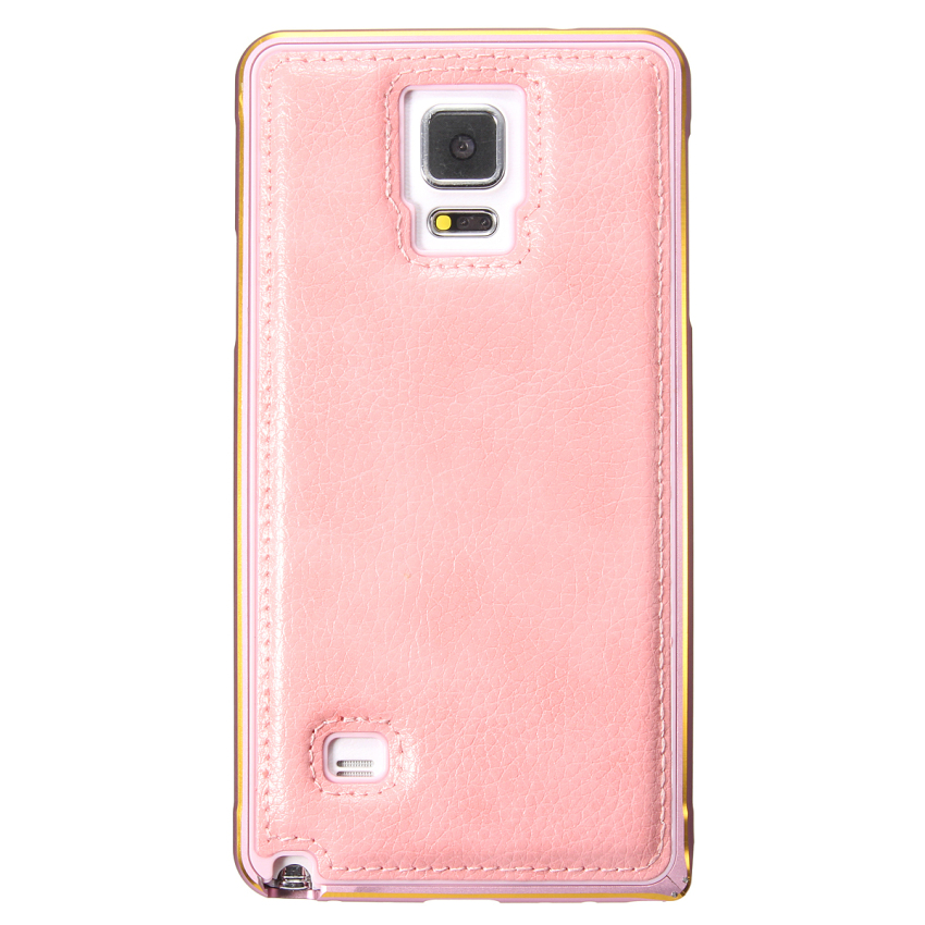 Luxury Aluminum Metal Frame PU Leather Back Case for Samsung Galaxy Note 4 (Pink) (Intl)