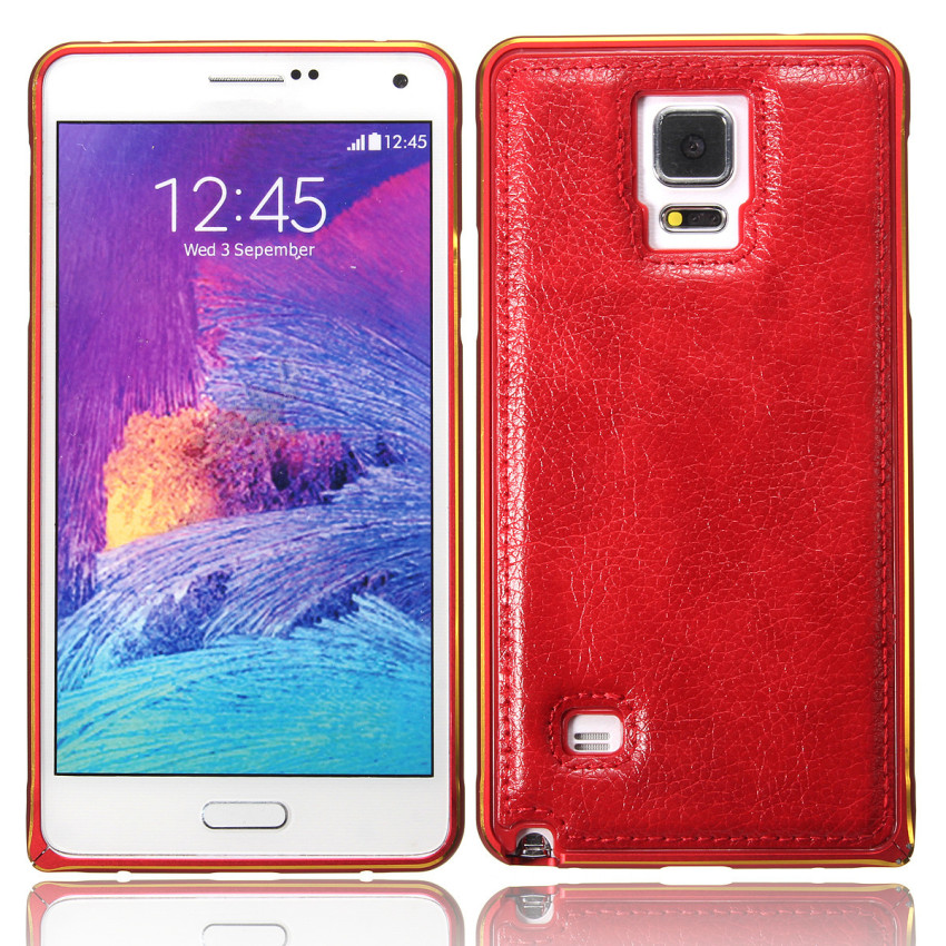 Luxury Aluminum Metal Frame PU Leather Back Case for Samsung Galaxy Note 4 (Red) (Intl)