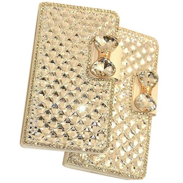 Luxury Bling Crystal & Diamond Leather Flip Bag For iPhone 6 Plus 5.5 inch (Gold) (Intl)