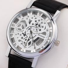 Luxury Brand Men Women Transparent Silver Gold Skeleton Watches Vintage Roman Numerals Leahter Wristwatch Relogio Masculino Gift - Intl
