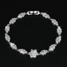 Luxury High-end White Gold Plated Diamond 19.5cm Charm Bracelet (White) (Intl)