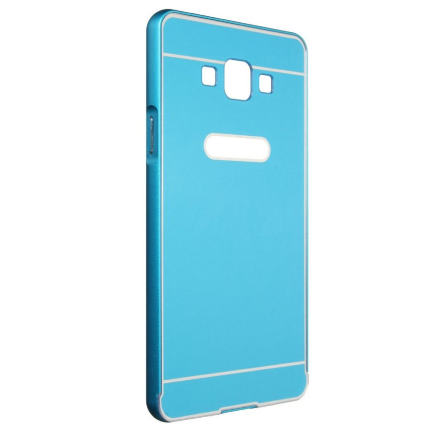 Luxury Hybrid Metal Aluminum Bumper + PC Hard Case for Samsung Galaxy A7 (Blue) (Intl)