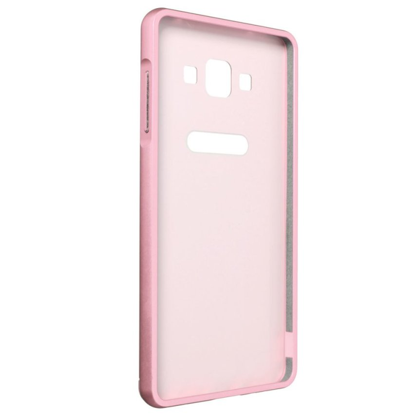 Luxury Hybrid Metal Aluminum Bumper + PC Hard Case for Samsung Galaxy A7 (Pink) (Intl)