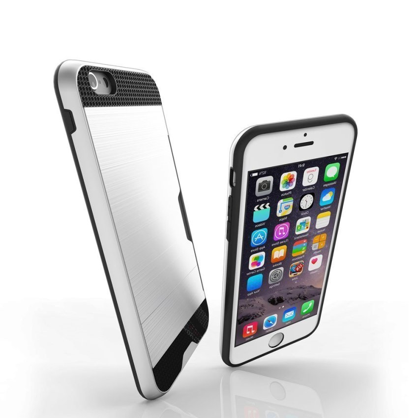 Luxury Hybrid Shockproof Armor Rubber Hard Card Case for iPhone 6 Plus Silver/Black (Intl)